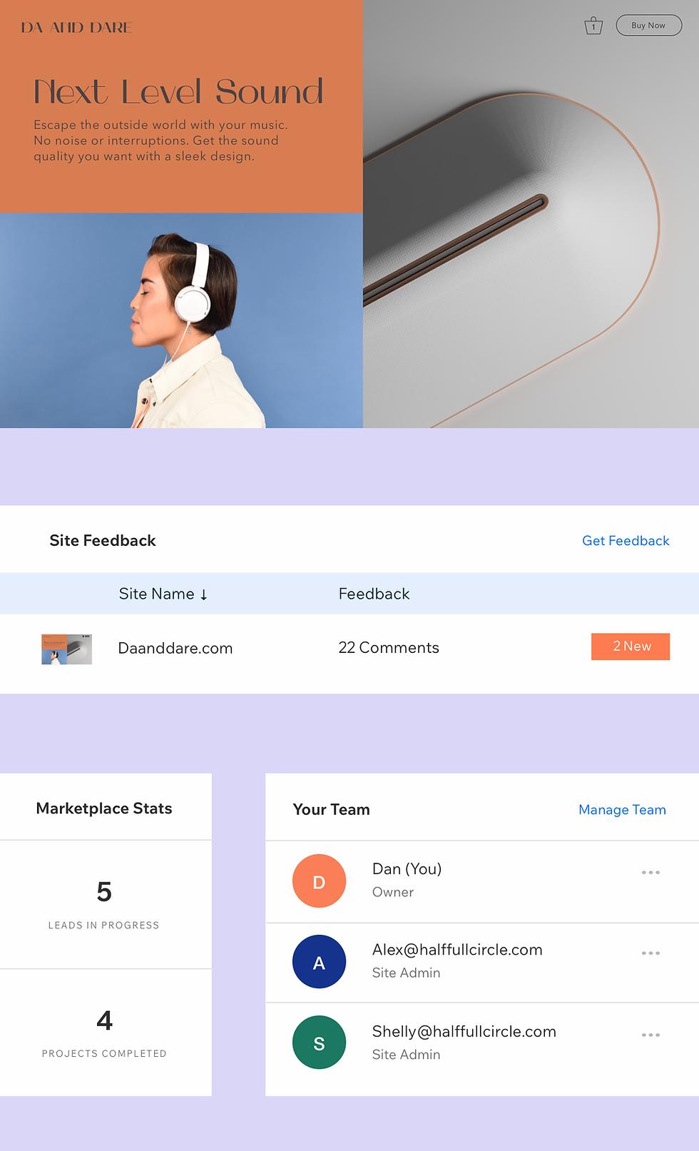Sito web di cuffie con visualizzazione dei collaboratori del sito.