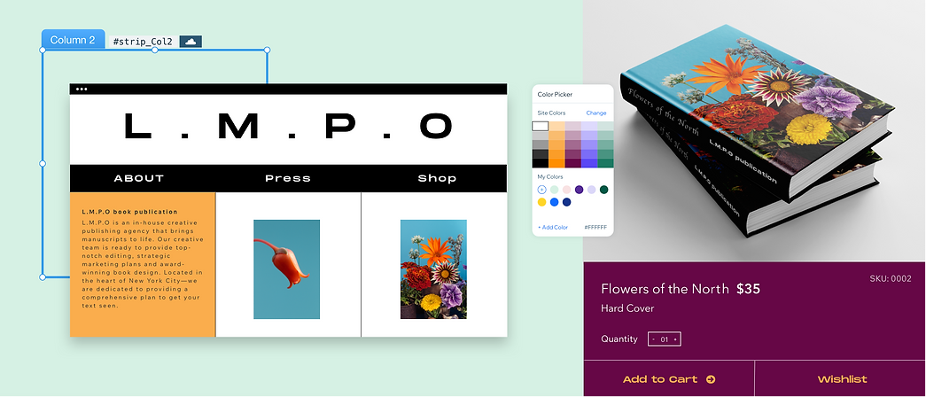 A book publication website editing and showcasing design features such as color palette, visual content and more.