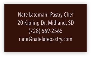 Back of a customized business card with contact information for a pastry chef.