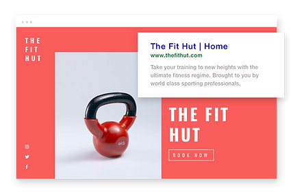 Fitness website, custom URL and Google description.