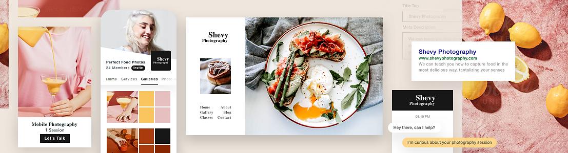 İş yönetme araçları sergileyen yemek fotoğrafçılığı web sitesi.