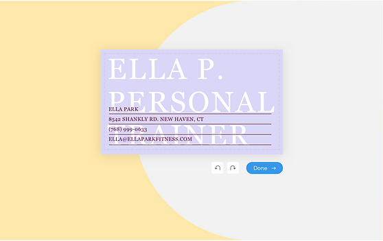 Customizing a business card for a personal trainer in the Wix Business Card Maker.