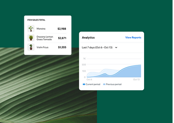 View of an analytics report in the Wix Owner app
