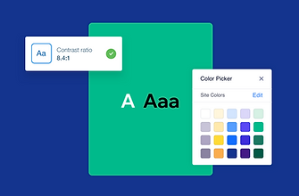 A contrast ratio and color picker inside the Wix Editor.