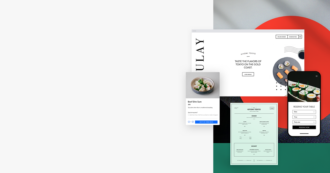 A restaurant page from the Wix restaurant website builder including a restaurant menu design and online table reservations.