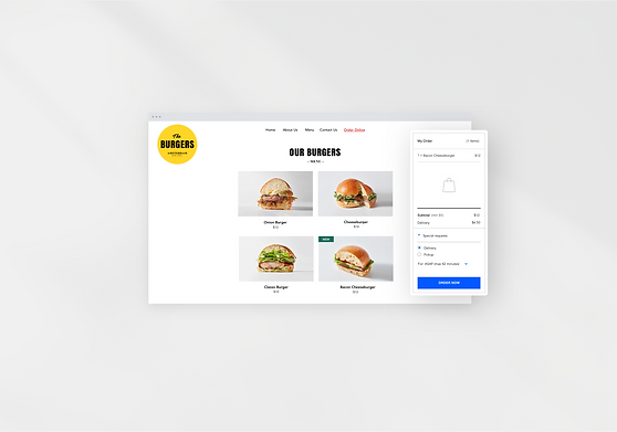 Example of the online ordering system for a burger restaurant created in the Wix restaurant website builder.
