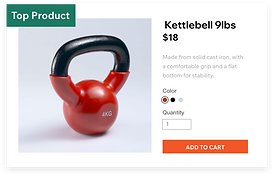 A top selling product, in this case a 9lbs Kettlebell.