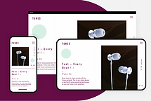 eCommerce website for high-end headphones showcased on desktop..