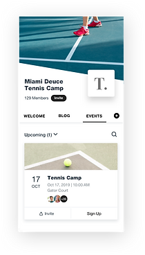 Wix Fitness mobile app view of upcoming events