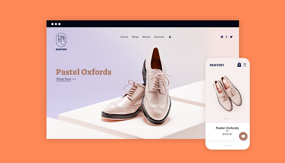 Online store showcasing light pink dress shoes on desktop and mobile