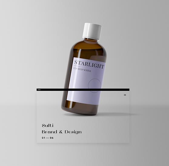 Flaske med shower gel med lilla etiket.
