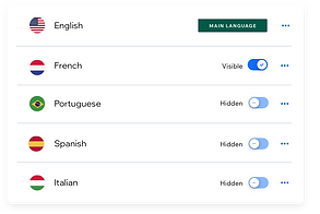 Panel que muestra todos los idiomas a los que se ha traducido un sitio web.