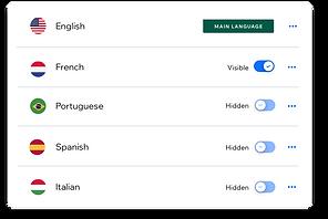 Websitesinizin hangi dillere çevrildiğini gösteren bir anahtar.