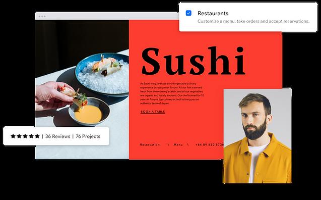 Esempio di un partner Wix che ha aiutato un imprenditore a creare un sito per il suo ristorante sulla piattaforma per la creazione di siti Wix.