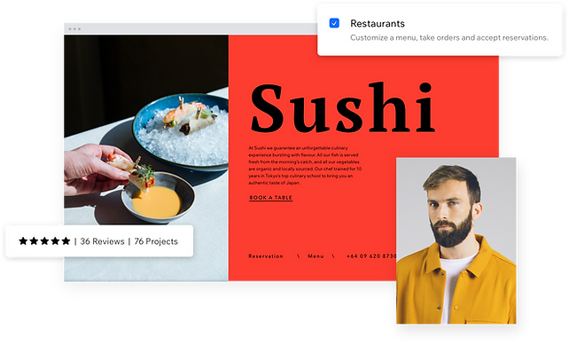 Example of an approved Wix partner who has helped a business owner create a restaurant page in the restaurant website builder.