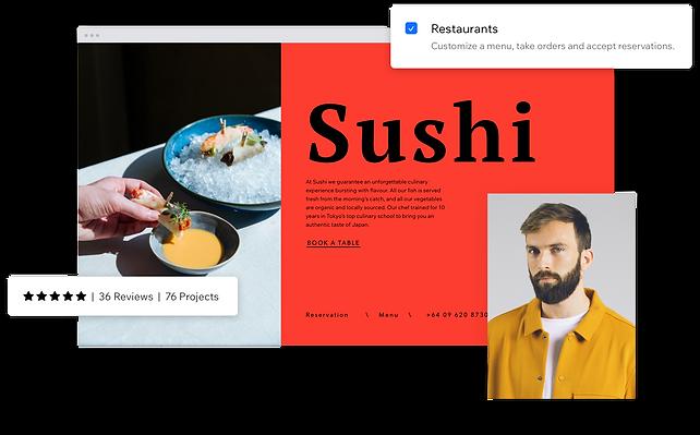 Ejemplo de un partner de Wix aprobado que ha ayudado al propietario de un negocio a crear una página de restaurante en el creador de páginas web para restaurantes.