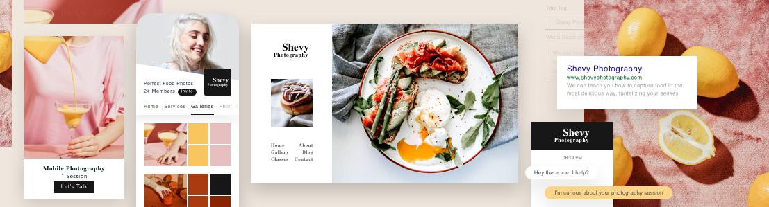 Un sitio web de fotografía de gastronomía que muestra herramientas para manejar el negocio.