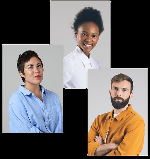 Fotos de perfil de agências e freelancers no Wix Marketplace.