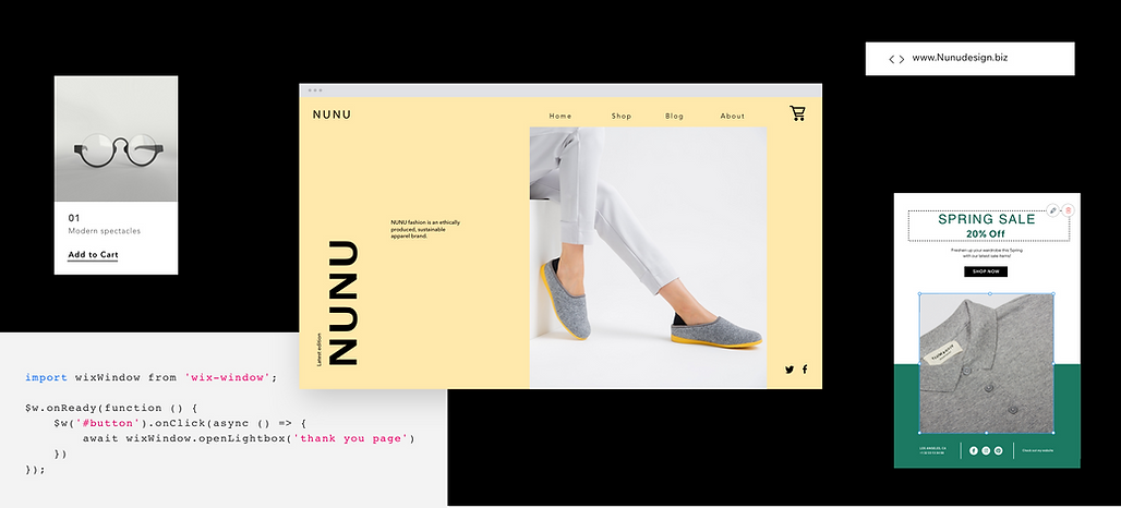 The different features of a fashion website, which is being managed by individual team members