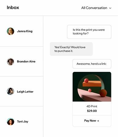 Brugers indbakke, hvor man kan se forkellige samtaler med hjemmesidebesøgende.