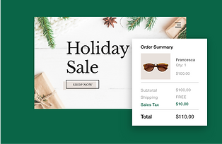 Holiday sale ad and checkout showing ecommerce sales tax calculation for sunglasses.