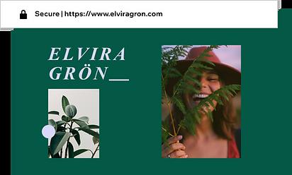 Anpassad domän för en portfoliosida som heter Elvira Grön.