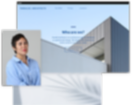 Architecture agency's homepage with image of woman