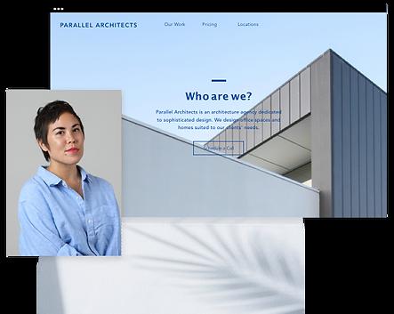 Homepage di uno studio di architettura con l'immagine di una donna.