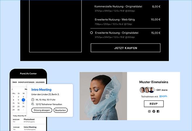 Eine Zusammenstellung verschiedener Funktionen von Wix, einschließlich der Möglichkeit, Kunst mit dem Wix Art Store zu verkaufen, Sitzungen mit Wix Bookings zu buchen und RSVP für eine mit Wix Events erstellte Veranstaltung zu erstellen.