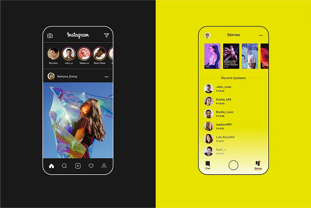 Inspiration in design - Instagram and Snapchat similarities