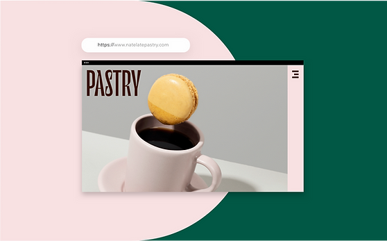 A website for a pastry chef showing a delicious-looking macaroon being dipped into a cup of coffee.
