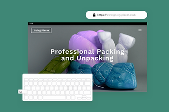 The homepage of a packing website showcasing built-in secure hosting with Wix.