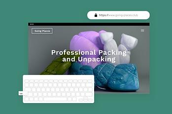 Домашняя страница упаковочного веб-сайта, демонстрирующего встроенный защищенный хостинг с Wix.