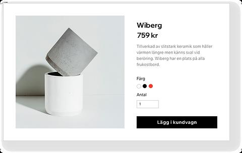 Wix-webshop för en keramikbutik som visar en stapel av små koppar.