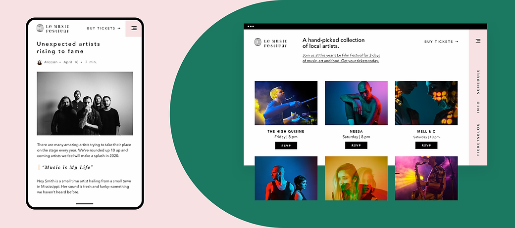 Сайт, созданный для музыкального фестиваля на Wix, демонстрирующий возможности мероприятий, электронной коммерции, мобильных устройств и блогов.