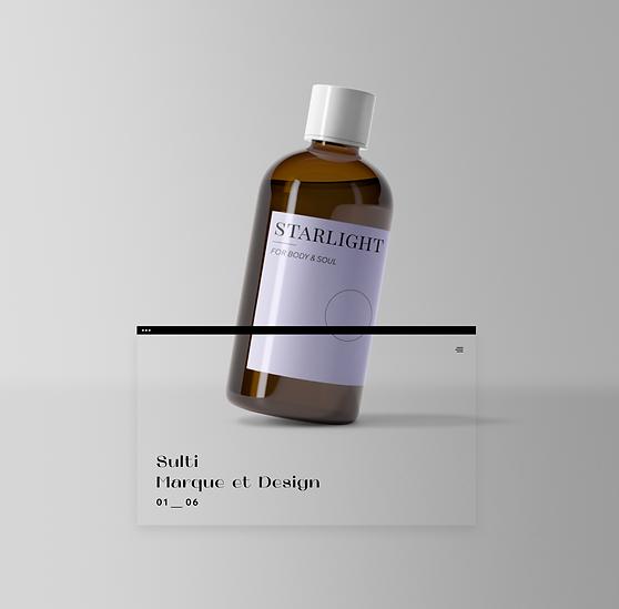 Bouteille de savon pour le corps avec étiquette violette