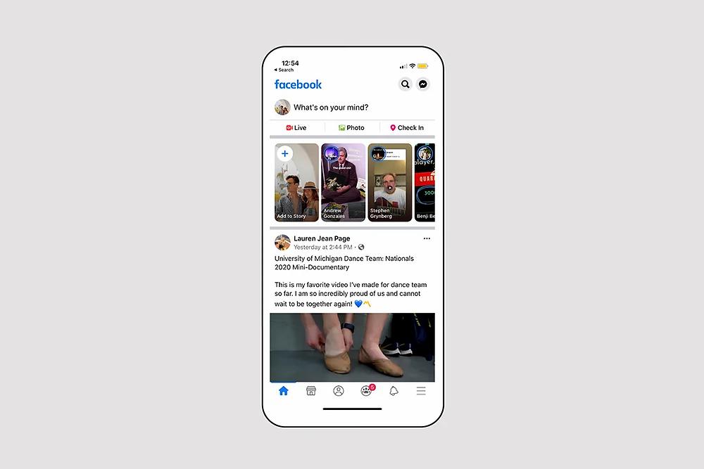 Screenshot of Facebook app's homepage on mobile