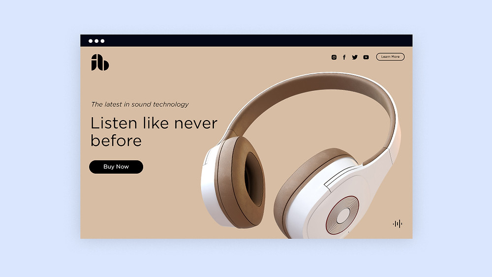 Example of a headphone company's landing page.