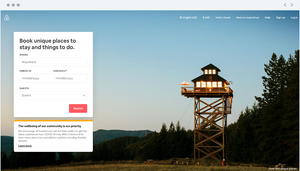 """Airbnb homepage, """"Book unique places to stay and things to do."""""""