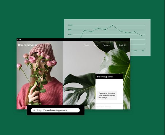 Online-Blumengeschäft und Statistik.