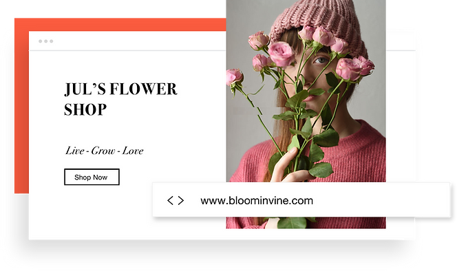 Custom domain name for an online flower shop.