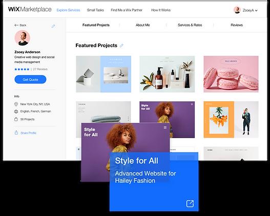 La sezione Progetti in Evidenza di un profilo di un Partner Wix sul Marketplace.