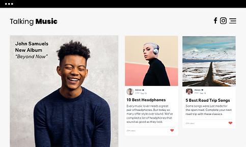 Un sitio web de música que muestra las publicaciones del blog y el lanzamiento de un nuevo álbum.