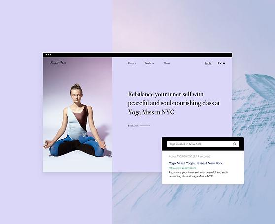 Yoga Studio Website und Suchmaschinenergebnis.