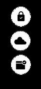 Ikony reprezentujące bezpieczeństwo i prywatność wbudowane w każdą witrynę Wix.