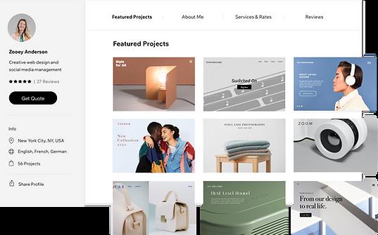 Un profilo sul Wix Marketplace con progetti in primo piano