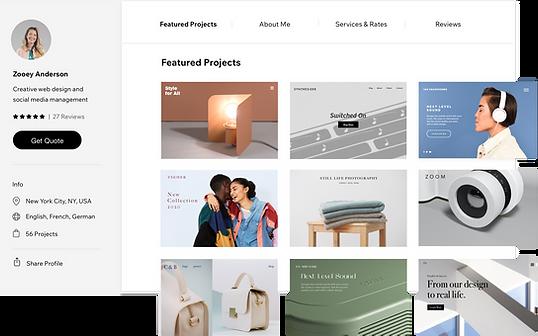 Um perfil do Wix Marketplace com projetos em destaque
