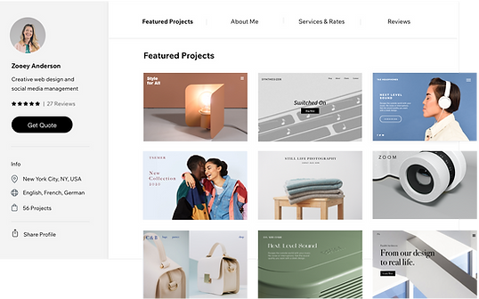 Projetos do Wix Marketplace.