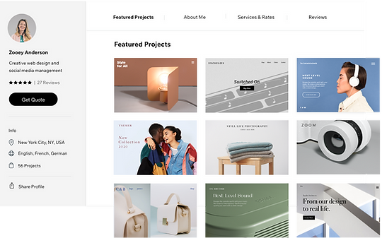featured projects in the Wix Marketplace