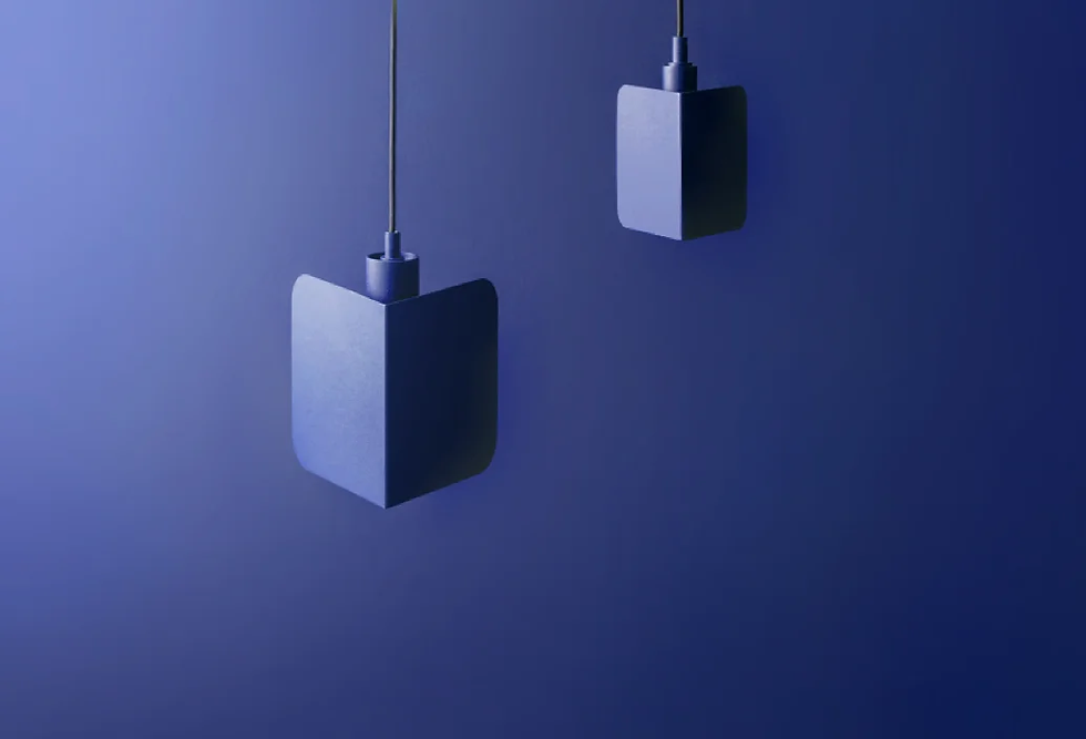 Two violet hanging lamps on a violet background